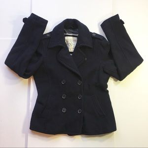 Abercrombie & Fitch Women's Navy Coat (Large)